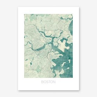 Boston Map Vintage in Blue Art Print