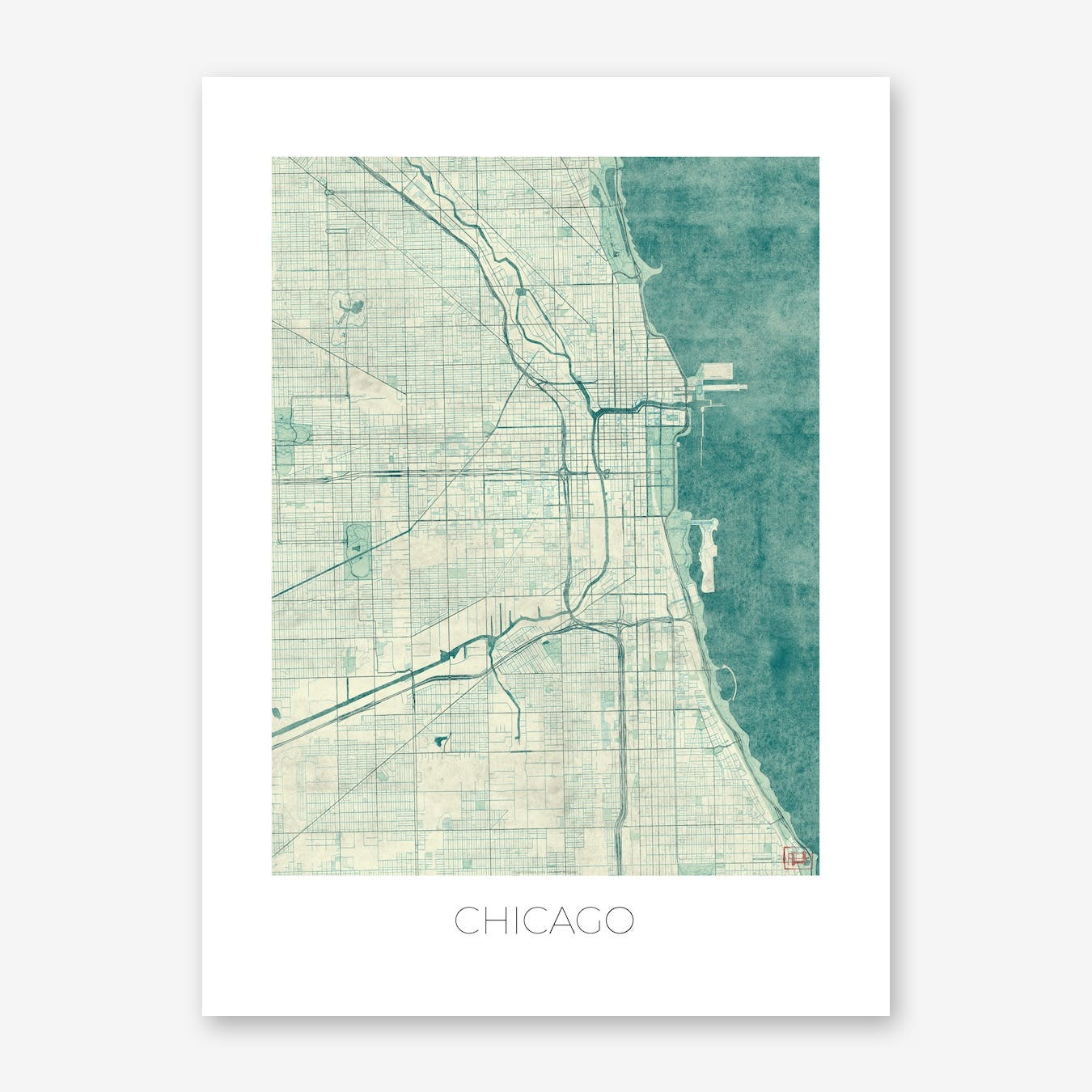 Chicago Map Vintage in Blue