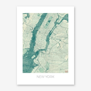 New York Map Vintage in Blue Art Print