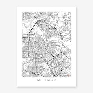 Amsterdam Map Minimal Art Print