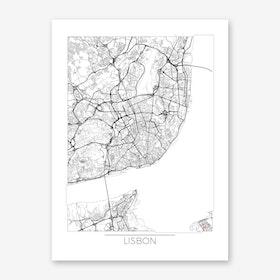Lisbon Map Minimal Art Print
