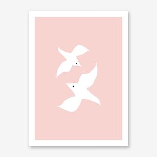 Love Birds In Pink Art Print