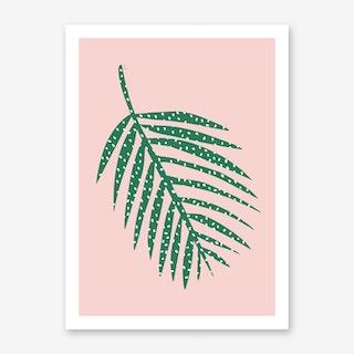 Polka Dot Leaf in Pink Art Print