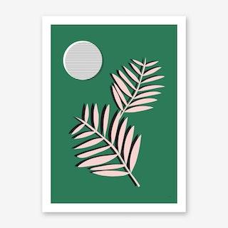 Palm Leaves in Moonlight Art Print