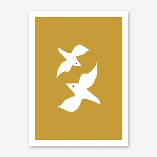 Love Birds in Mustard Art Print