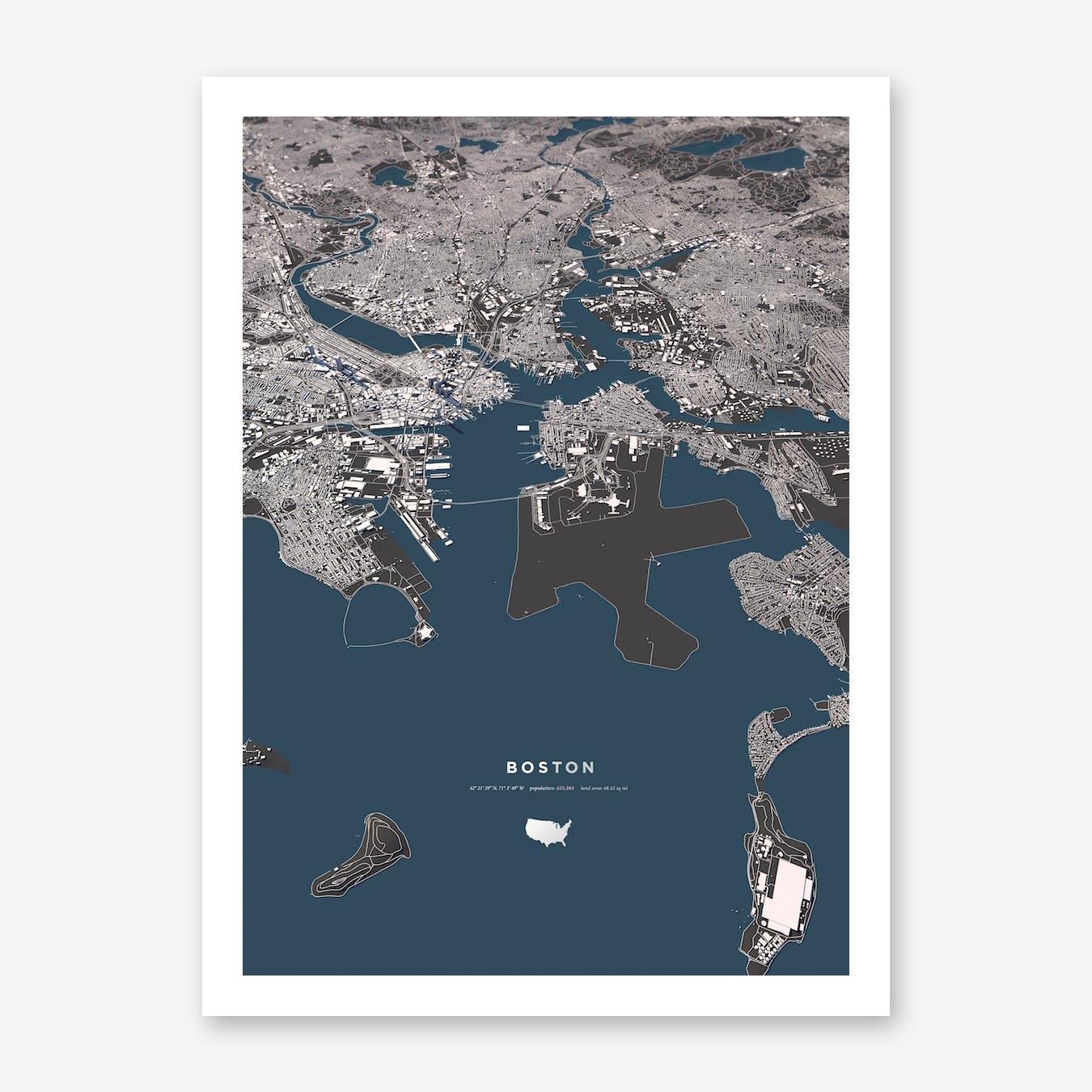 Boston Blue City Map