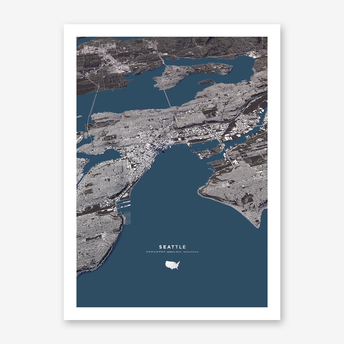 Seattle Blue City Map