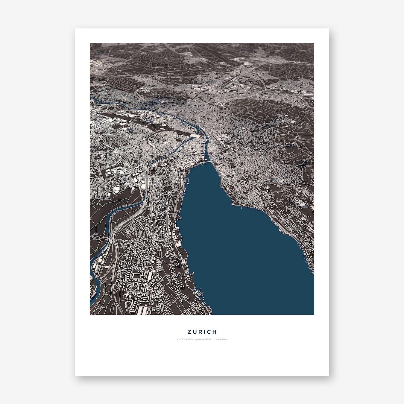 Zurich Blue City Map