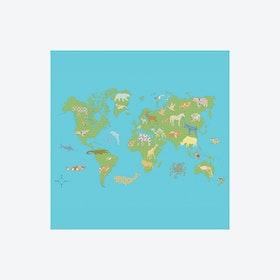 Wereldkaart Groen Wallpaper