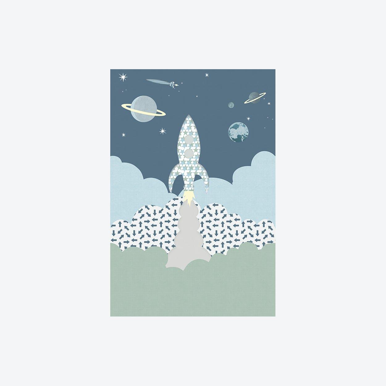 Raket Grijsblauw Wallpaper