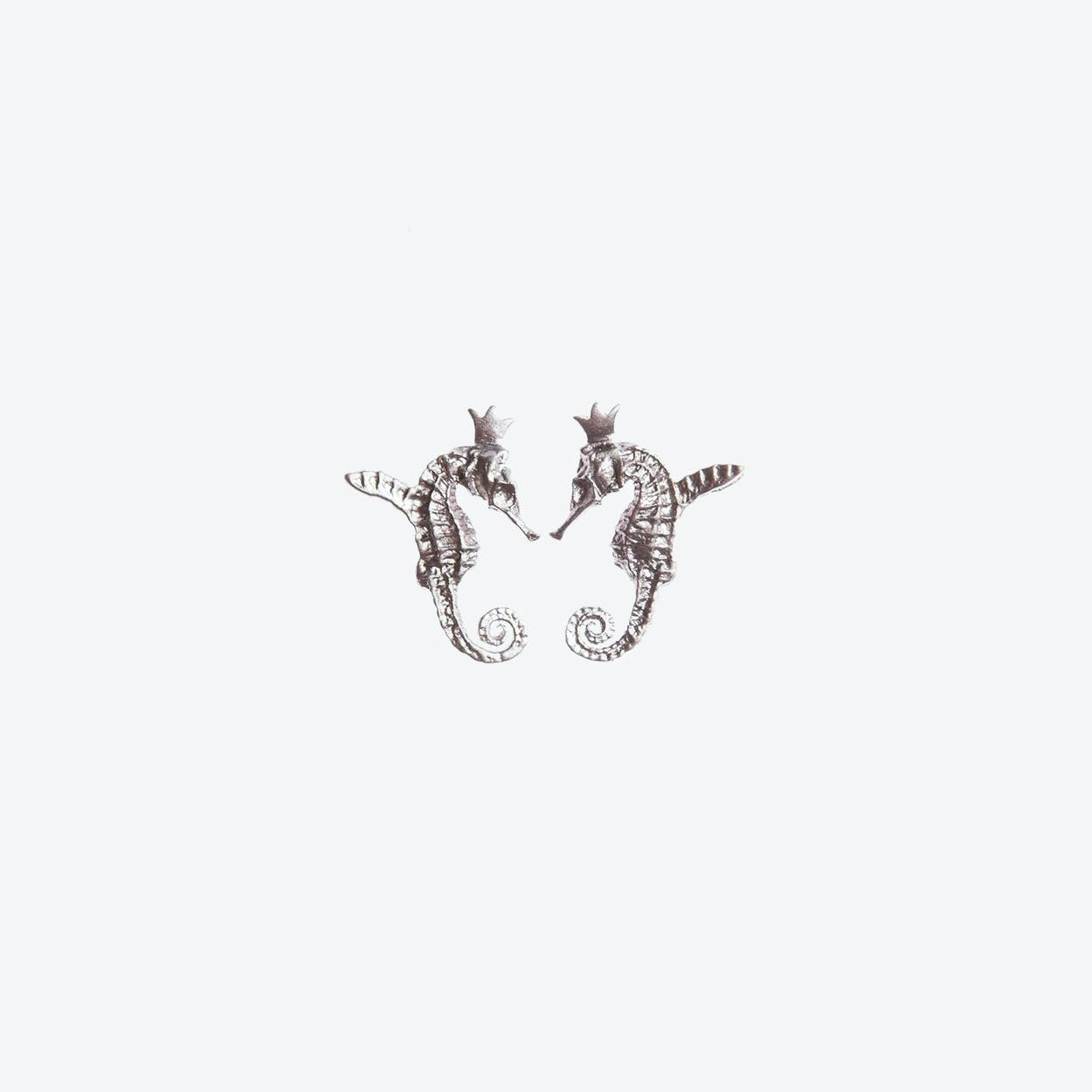 Hippo Couture Hippocamp Earrings in Silver