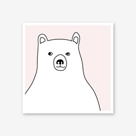 Bear in a Pink Square Art Print