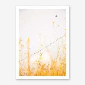 Birds on a Wire - Yellow Art Print