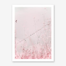 Birds on a Wire - Pink Art Print