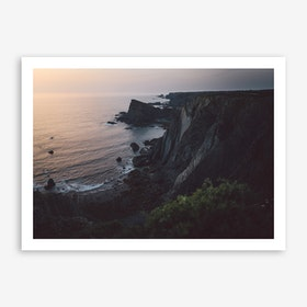 Sea Sunset II x Cliffs, Portugal Art Print