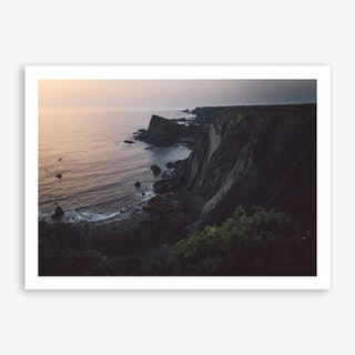 Sea Sunset II x Cliffs, Portugal Art Print
