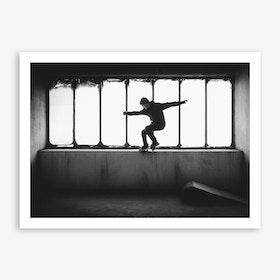 Zementwerk Skateboarding II x B&W Silhouette Art Print