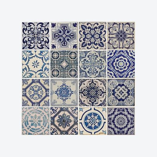 Spanish Blue Tile Pattern Self-adhesive Decal