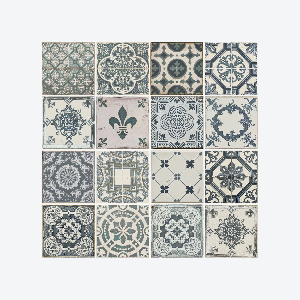 Vintage Blue Tile Pattern Self-adhesive Decal