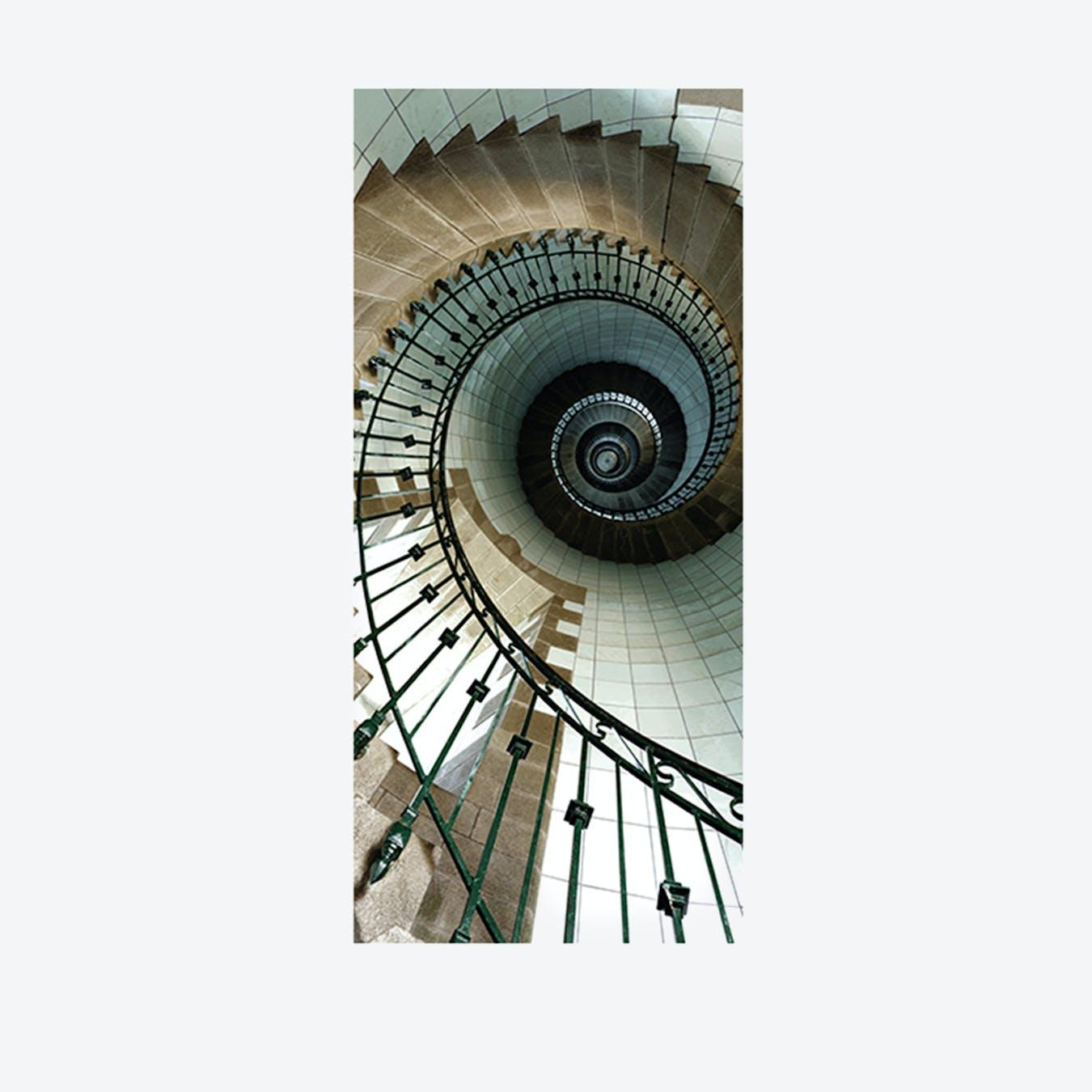 Spiral Stairs Door Mural