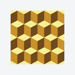 Yellow 3D Cubes Wall Mural