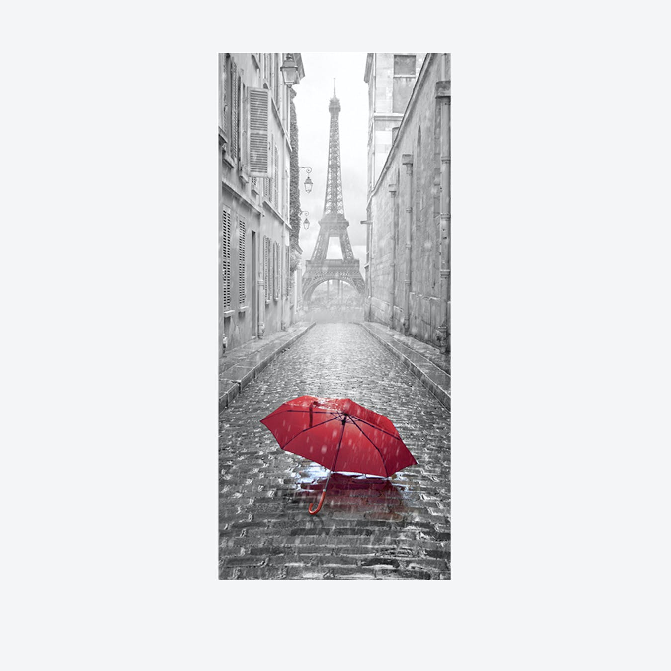 Eiffel Tower Umbrella Door Mural