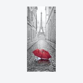 Eiffel Tower Umbrella Door Mural