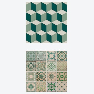 Pine and Moss, Azulejo & Cubic Self-adhesive Furniture Wrap