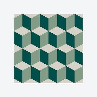 Green 3D Cubes Self-adhesive Wall Mural