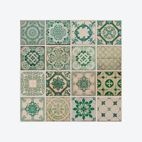 Green Tiles Self-adhesive Wall Mural