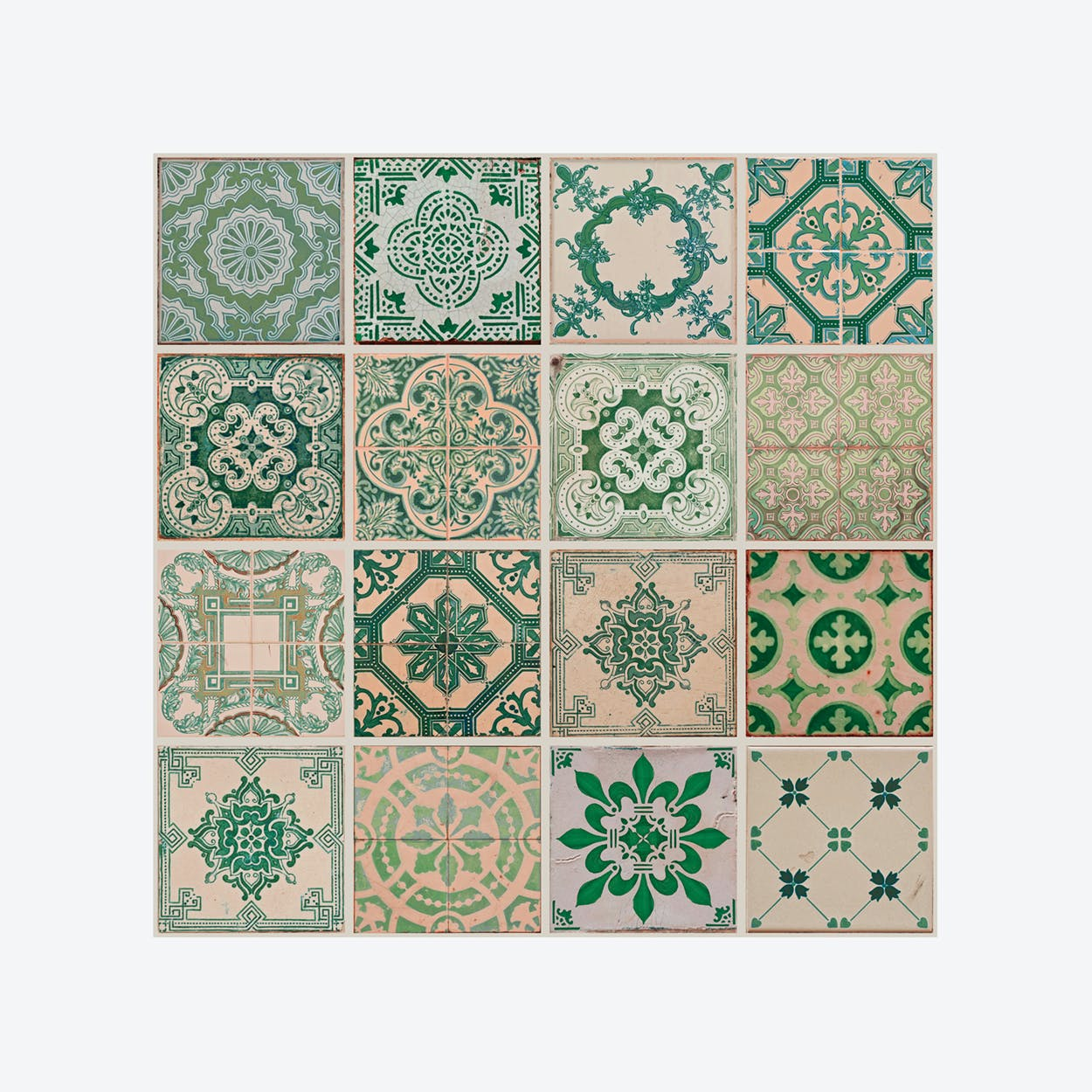 Green Tiles Self-adhesive Wall Mural