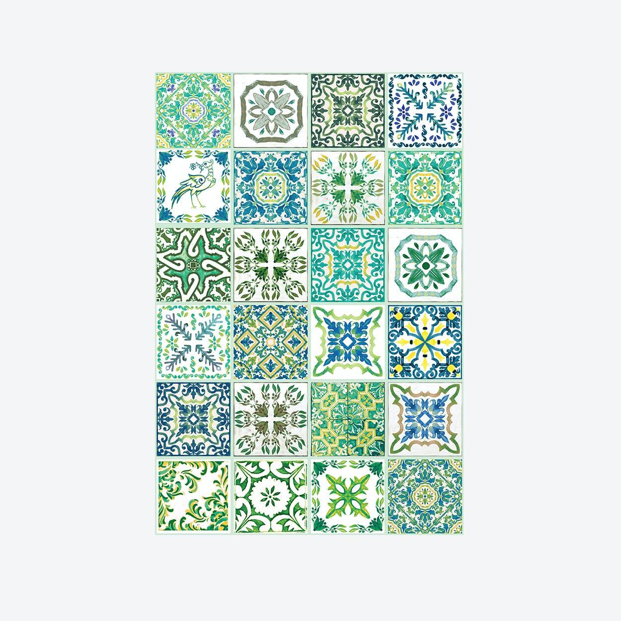 Walplus Turkish Green Mosaic Tile Decal