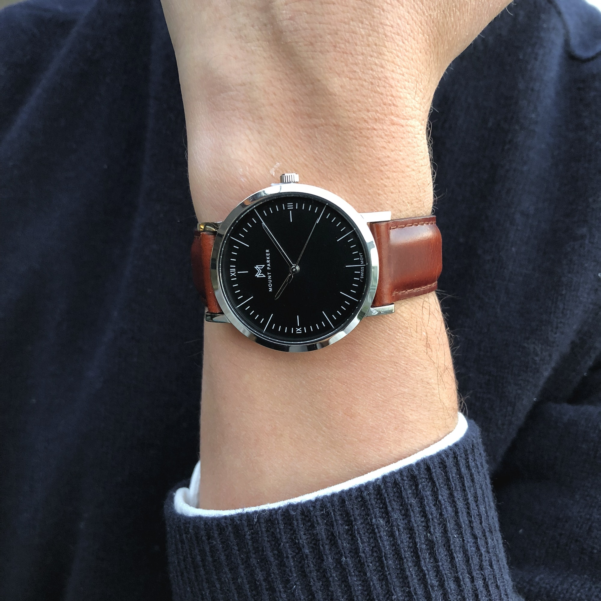Odyssey Watch Glacier Silver With Black Face And Brown Leather Strap 36mm