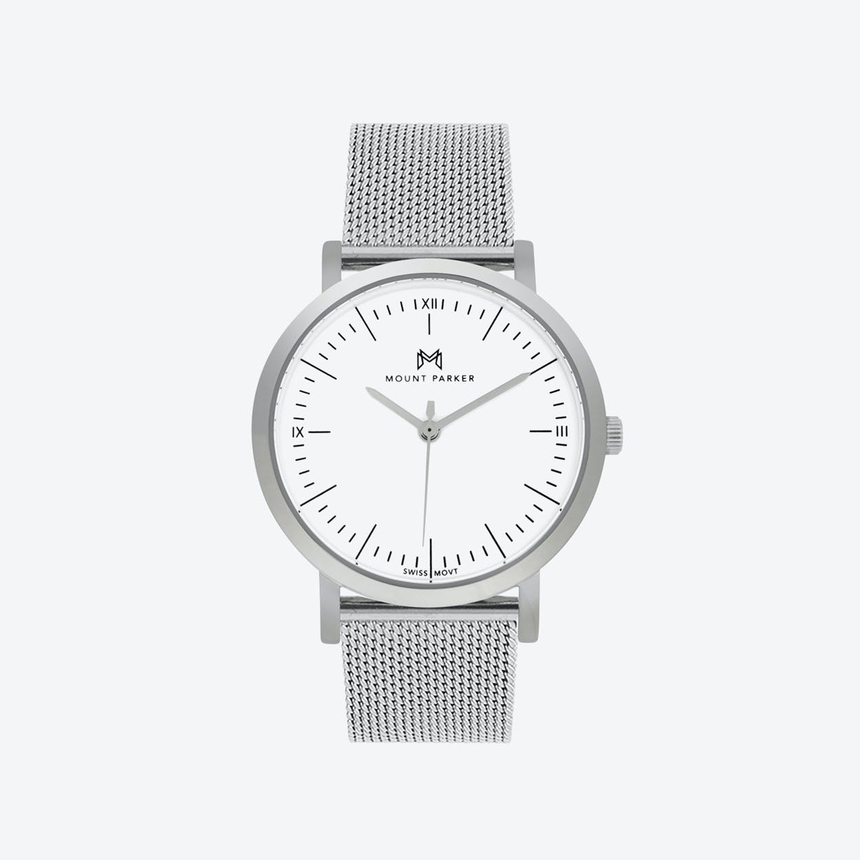 ODYSSEY Watch Glacier Silver and Silver Mesh Strap, 36mm