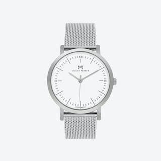ODYSSEY Watch Glacier Silver and Silver Mesh Strap, 36mm