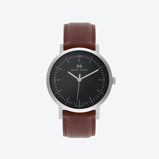 ODYSSEY Watch Glacier Silver with Black Face and Brown Leather Strap, 36mm