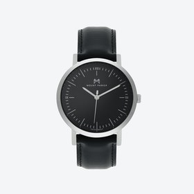 ODYSSEY Watch Glacier Silver with Black Face and  Black Leather Strap, 36mm