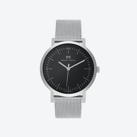 ODYSSEY Watch Glacier Silver with Black Face and Silver Mesh Strap, 36mm