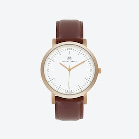ODYSSEY Watch Rose Gold with Brown Leather Strap, 36mm