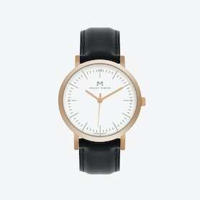 ODYSSEY Watch Rose Gold with Black Leather Strap, 36mm