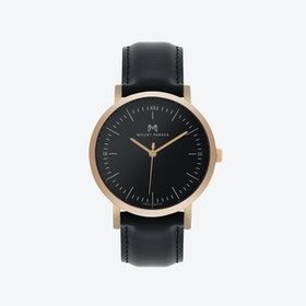 ODYSSEY Watch Rose Gold with Black Face and Black Leather Strap, 36mm