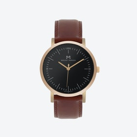 ODYSSEY Watch Rose Gold with Black Face and Brown Leather Strap, 36mm