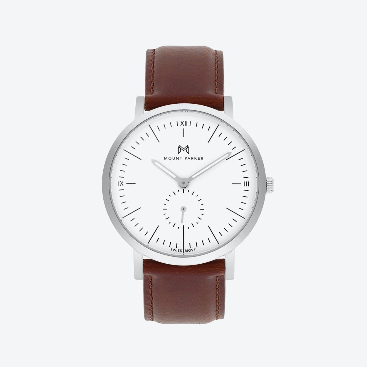 ODYSSEY Watch Glacier Silver w/ Brown Leather Strap, 40mm