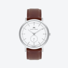 ODYSSEY Watch Glacier Silver w/ Brown Leather Strap, 40mm