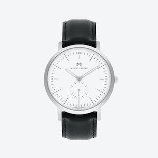 ODYSSEY Watch Glacier Silver with Black Leather Strap, 40mm