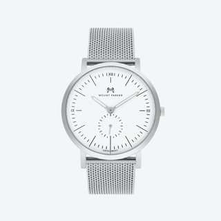 ODYSSEY Watch Glacier Silver and Silver Mesh Strap, 40mm