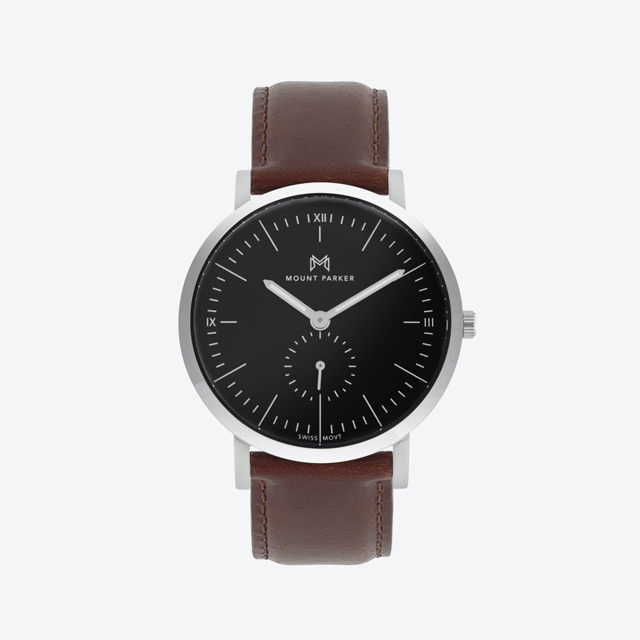 ODYSSEY Watch Glacier Silver with Black Face and Brown Leather Strap, 40mm