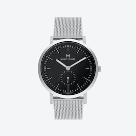 ODYSSEY Watch Glacier Silver with Black Face and Silver Mesh Strap, 40mm