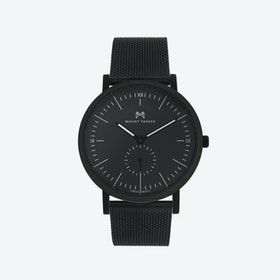 ODYSSEY Watch Obsidian Black in Black Face and Black Mesh Strap, 40mm