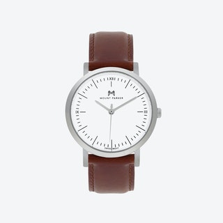 ODYSSEY Watch Glacier Silver with Brown Leather Strap, 36mm
